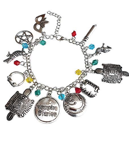 Orion Creations Vampire Diaries Inspired Charm Bracelet con Cuentas de Cristal