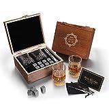 Baban Whisky Stein Set, Wiederverwendbare Eiswürfel, 8 Eissteine und 2 * 200ml Whiskygläser, Edelstahlclips und Tasche aus Fleece, Geschenk Box aus Holz, Männer und Frauen