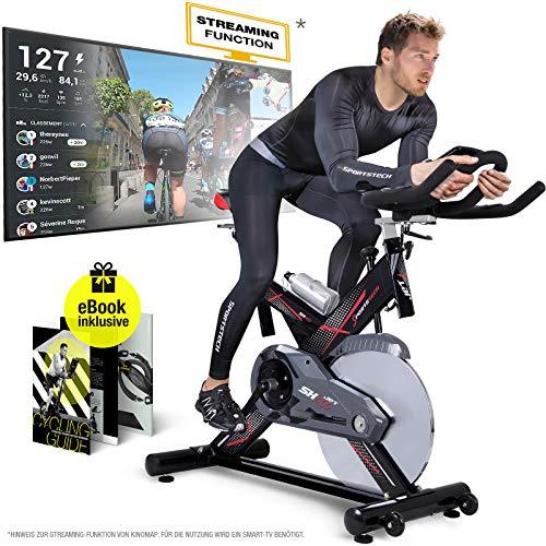 Sportstech Profi Indoor Cycle SX400 – Deutsche Qualitätsmarke- mit Video Events & Multiplayer App, 22KG Schwungrad, Pulsgurt kompatibel-Speedbike mit leisem Riemenantrieb - Ergometer