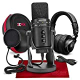 Samson G-Track Pro Professional USB Condenser Microphone w/Audio Interface Bundled with PreSonus HD9 Pro Headphones, Mic Pop Filter, Headphones Case, and Accessories