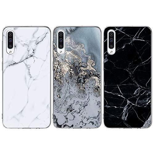 ToneSun für Samsung Galaxy A50 Marmor Hülle, 3 x TPU Handytasche Weiche Hülle Hülle Schutzhülle Handyhülle Schale Protective Cover Silicone Taschen Ultra Dünner Weicher Handycover - Marmor
