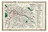 Impresión fotográfica del mapa viejo de Berlín 1896 por Bradshaw – 76,2 x 50,8 cm