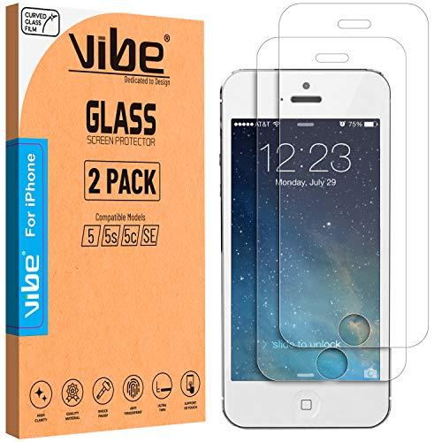 VIBE Schutzfolie für iPhone - Panzerglas Schutzfolie Folie Vorne Displayschutzfolie 9H Härte, Kratzfest, Blasenfrei, Hüllenfreundlich für iPhone (iPhone 5, 5S, 5C, SE, Clear)