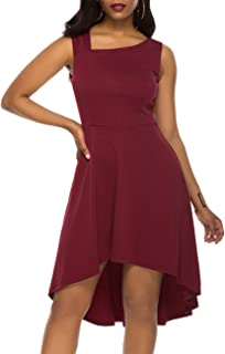 Lover-Beauty Women Cocktail Dress Sleeveless High Low Plain Maxi Evening Prom Vintage Dress