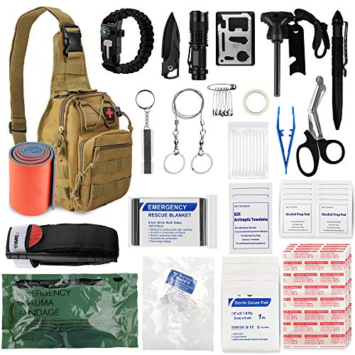 Sun Sante Emergency Trauma Survival First Aid Kit,Military Tactical Sling Rover Shoulder Bag Pack, IFAK EDC Molle System Outdoor Gear for Camping Boat Hiking Home Car Earthquake and Adventures(Tan)