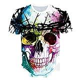 BZPOVB Unisexe 3D Imprimé T-Shirt Unisexe Loisirs Mode à Manches Courtes T-Shirts - 3D Skull Crown of Thorns Motif Cool Summer Comfy Personnalité T-Shirts Chemise drôle à col Rond Fantaisie