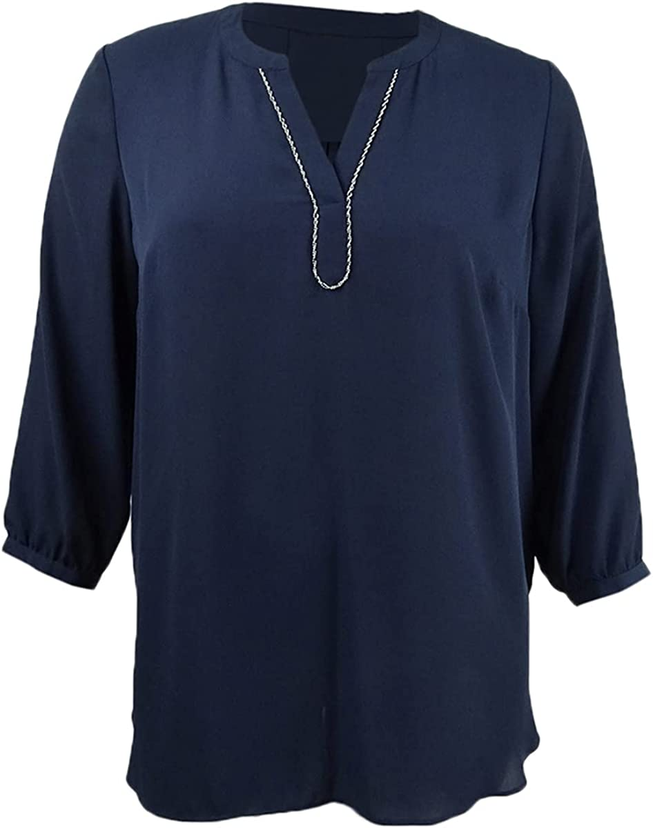 JM Collection Women's Split-Neck Tunic (XL, Intrepid Blue)