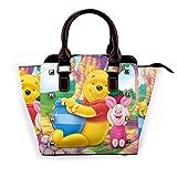 Win-Nie Pooh Women Tote Bag - Bolso de piel sintética con correa ajustable para el hombro para la escuela de trabajo, viajes, gimnasio