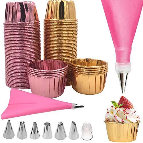 WENTS Cupcake Formen Muffinförmchen Aluminium-Folien Backförmchen aus Aluminiumfolie mit Spritzbeutel Spritzdüsenset Ideal für Muffins und Cupcakes (Pack of 100)