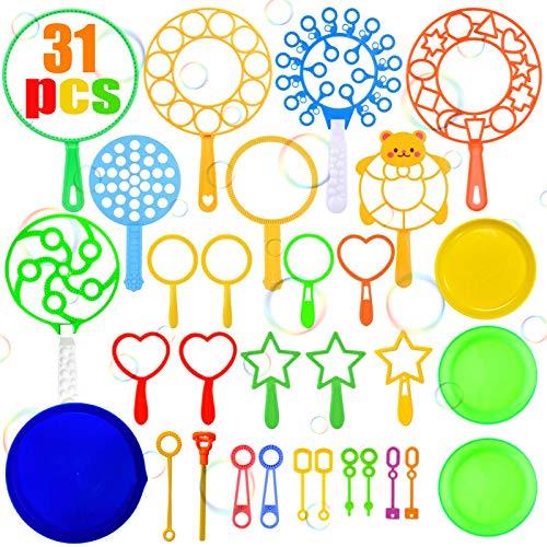 TaimeiMao 31 Pezzi Bolle di Sapone Kit,Bacchetta A Bolle,Bubble Maker Set,Bolle di Sapone Giganti,Bacchette per Bolle in plastica,Bubble Stick per attività All'aperto Estiva, Festa di Compleanno (A)