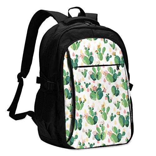 XCNGG Cute Cactus Travel Laptop Backpack with USB Charging Port Multifunction Work School Bag