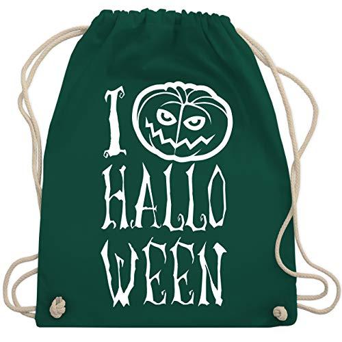 Shirtracer Halloween - I Love Halloween - Unisize - Dunkelgrün - Spruch - WM110 - Turnbeutel und Stoffbeutel aus Baumwolle
