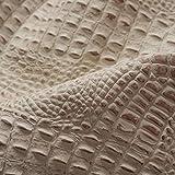Ipea - Piel auténtica Estampada a Rayas – 100% Made in Italy Color Marfil Claro, Cuero, tamaño 110 cm x 110 cm Aprox.