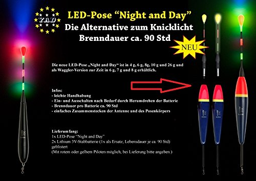 Eunicell Vertrieb Deutschland 1x-LED-YAD-Pose-Night-and-Day 26 Gramm ROTER Pilot inkl-2-x-Stabbatterien CR435 3V