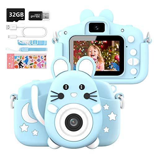 Hangrui Cámara Digital para Niños,Cámara Fotos Infantil con 32GB TF Tarjeta,Pantalla de Protección Ocular IPS de 1080P 2,0' HD Selfie Video Cámara Fotos Niños Regalos para Niños y niñas(Azul)