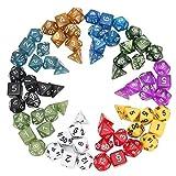 Poliédrica Junta Dados RPG Dados Set 10 colores 4D 6D 8D 10D 12D 20D con 10 bolsas de 70 PC -Robust y duradero