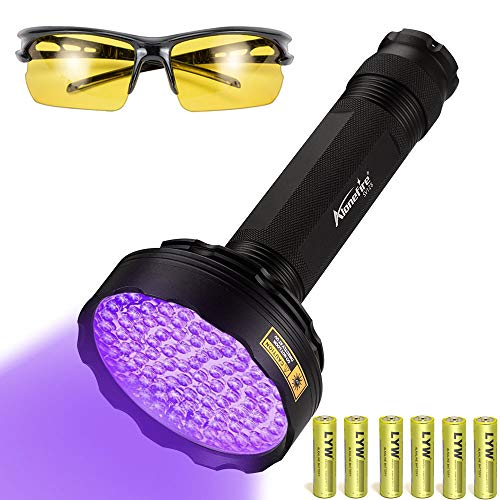 Alonefire SV128 Torcia UV Professionale 395nm 128 LED Lampada Ultravioletti Luce Nera per Fluorescina, Scorpione, Rilevatore di Urina, Macchie Secche, Pavimento con Occhiali UV, Batterie 6xAA incluse
