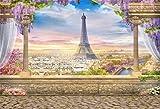 AOFOTO 7x5ft Eiffel Tower Backdrop Retro Column Paris Landscape Architecture Balcony Overlook Streetscape Photography Background Terrace Fancy Aerial Veranda Wedding Bride Newlyweds Photo Studio Props