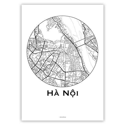 Plakat Hanoi Vietnam Minimalist Map - Poster, City Map, Dekoration, Geschenk