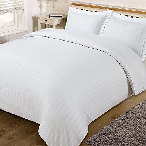 Dreamscene–Set Copripiumino matrimoniale da letto a righe, in satin, bianco, King