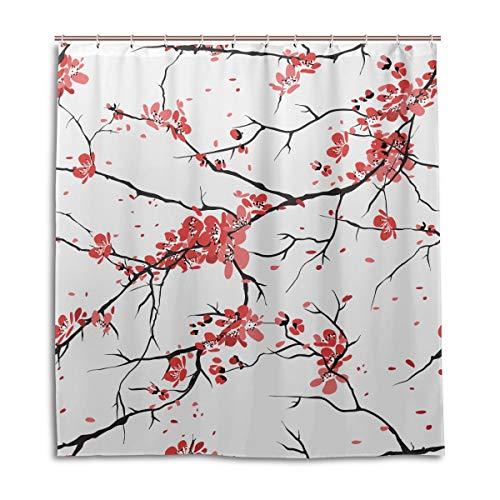Yushg Badezimmer Duschvorhänge für Jungen Cherry Sakura Mädchen Bad Duschvorhang 66 x 72 Zoll maschinenwaschbare wasserdichte Badezimmervorhänge
