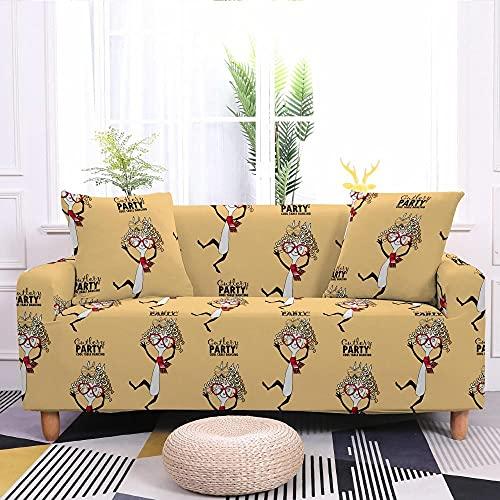 Fundas Sofas 3 y 2 Plazas Ajustables Hombre Amarillo Mostaza Fundas para Sofa Spandex Cubre Sofa Estampadas Fundas Sofa Elasticas Universal Espesas Verano Modernas Fundas para...