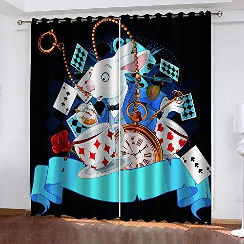 BRFNC Cortina Opacas Cortinas con Protección la Privacidad Reducción el Ruido Reloj Retro Rabbit Magician con Ollaos para niños Hogar Dormitorio Salón Moderno...