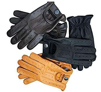 Real Soft Leather Mens Driving Gloves Without Lining  Tan Medium