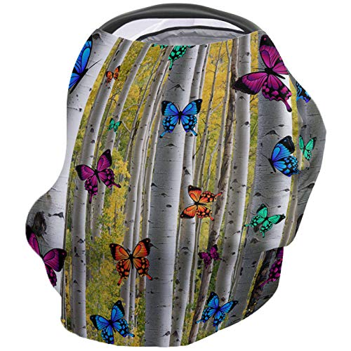 Learn More About Woodland Nursing Cover for Baby Breastfeeding, Soft Breathable Stretchy Carseat Can...
