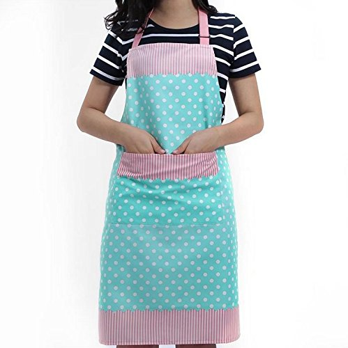 Veewon Damen Küchenschürze mit Taschen Restaurant Flirty Schürzen für Damen Koch, Cupcake, Cafe und Kellnerin (Blau)