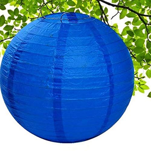 "Houkiper Round Paper Lanterns Decorative 10"" 12"" 16"" Multicolors Choice Hanging Paper Lanterns for Home Decor, Wedding Celebration Party Decoration Indoors & Outdoors 5 pcs (Royal Blue, 16"")"