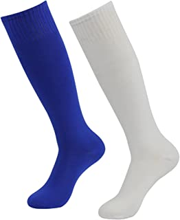 White Soccer Socks, Three street Womens Mens Over the Calf Comfort Sport Soccer Rugby Socks for Halloween Costumes Gift White Blue 2-Pair