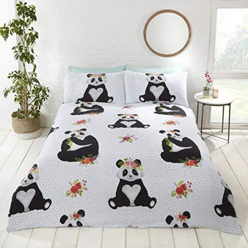 Rapport Panda Bettwäsche-Set mit lustigem Motiv, Mehrfarbig, Größe: Doppelbett – 200 x 200 cm