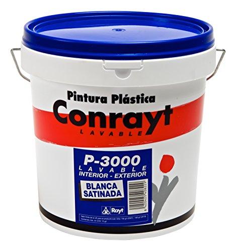 Rayt 408-28 Conrayt P-3000 Pintura plástica Blanco Nieve para Interior y Exterior de Acabado Satinado, excelente Rendimiento, cubrición y blancura. Lavable y Resistente al Frote, 10litros