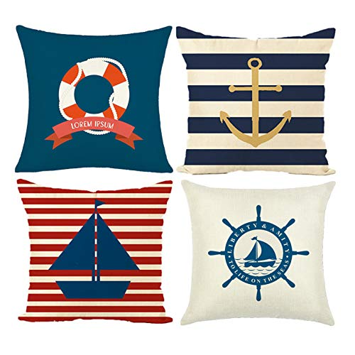 MIULEE Pack of 4 Nautical Sailing Linen Cushion Covers Decorative Square Throw Pillow Case Pillowcases for Couch Livingroom Sofa Bed with Invisible Zipper 45cm x 45cm,18x18 Inches