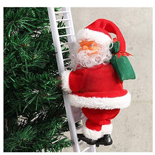 Hybei Electric Santa Claus Climbing Ladder Toy, Xmas Ornaments Decoraions, Christmas Figurine,Children Gift for Ages 3+ ,Ladder Length 55cm,Old Man 19x9cm