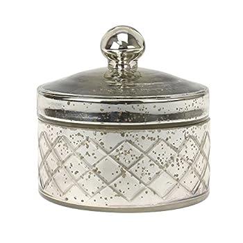 Stonebriar Antique Mercury Glass Storage Container with Lid Decorative Jar for Cotton Ball or Cotton Swab Storage Unique Keepsake or Trinket Box Elegant Jewelry Box