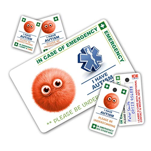 ICECARD CHILD AUTISM In Case of Emergency (I.C.E.) Pack with 1 Card, 2 Key Rings & 2 Stickers from Created Specifically for Autistic Children