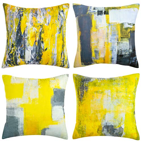 Hanrunsi - Set di 4 federe decorative per cuscini gialle, motivo pittura a olio, per auto, soggiorno, letto, divano, 45 x 45 cm, colore: grigio