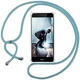 Ingen Funda con Cuerda para Huawei P8 Lite 2017 - Carcasa Transparente TPU Suave Silicona Case con Colgante-(Azul Claro)