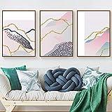 シンプルな抽象的なカラーラインカーブヒルズキャンバスアートプリントポスター画像壁寝室リビングルーム現代の家の装飾-50X70Cmx3フレームレス