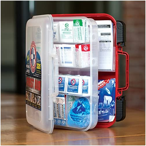 First Aid Kit Hard Red Case 326 Pieces Exceeds OSHA and ANSI Guidelines 100 People - Office, Home, Car, School… 5