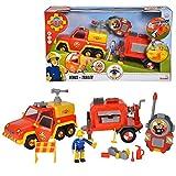 Dickie-spielzeug camión de bomberos venus y remolque | sonido y carácter elvis | sam el bombero
