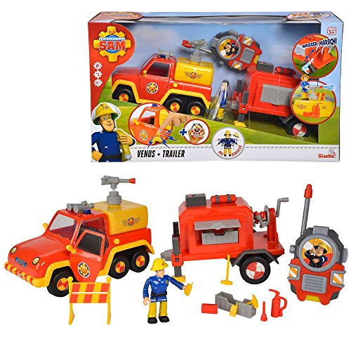 Dickie Spielzeug Camion dei Pompieri Venus & Trailer | Suono & Carattere Elvis | Sam Il Pompiere