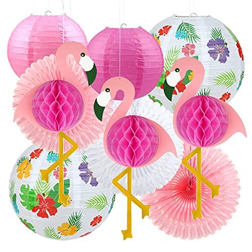LIHAO 10 Stück Hawaii Tropische Deko Flamingo Party Set Flamingo Pompons Ananaslaterne papierlampions Papierfächer für Foto Requisiten Geburtstagsdeko Party Kit Bunt Hawaii Sommer Mottoparty