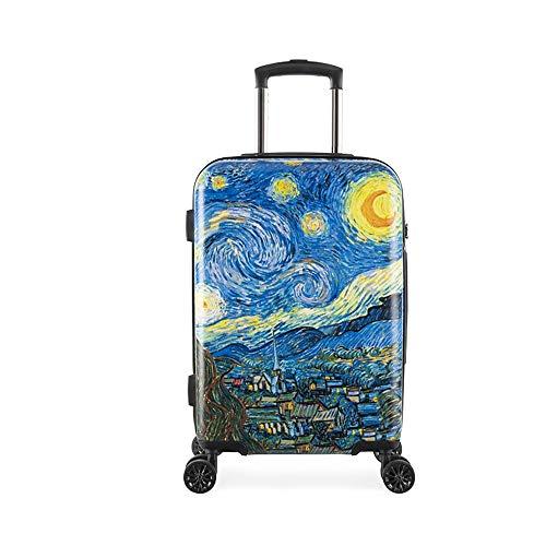 20'' Trolley para Maleta, Van Gogh The Starry Night, Ligero, Duradero, rígido, ABS, Equipaje de Mano con candado TSA / 4 Ruedas giratorias silenciosas/Bolsa para el Polvo (The Starry Night, 20'')