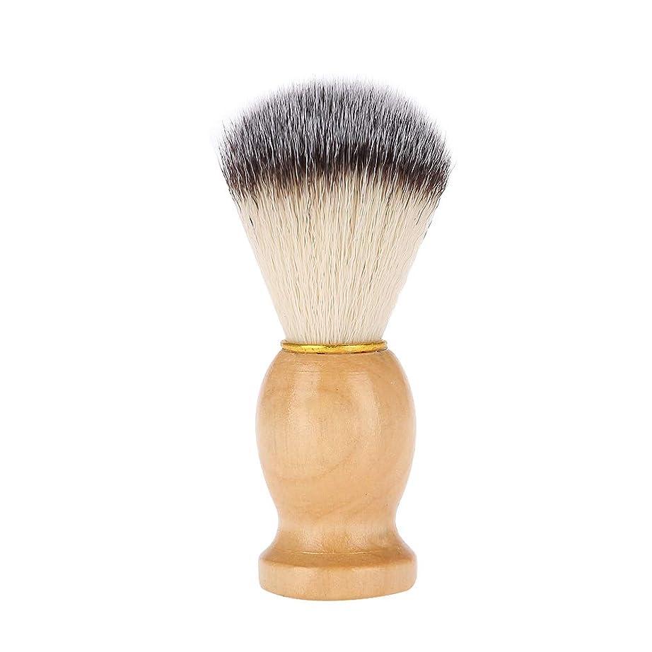 ハイライトコットン苦いシェービングブラシ 髭剃りブラシ 木製ハンドル+繊維毛 泡立て ひげ剃りツール メンズ理容ブラシ