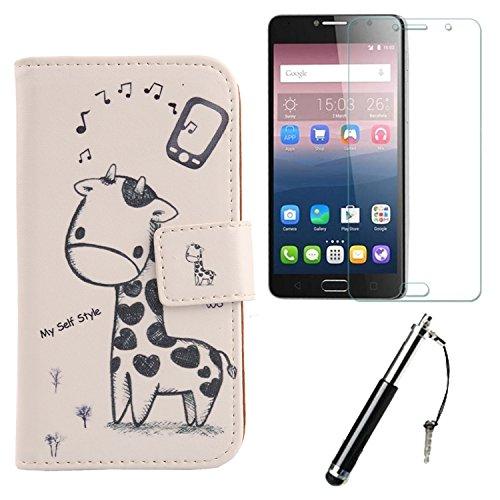 Lankashi Giraffe 3in1 Set PU Flip Leder Tasche Für Alcatel Idol 4S 6070K 5.5