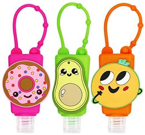 SENSIVO Hand Sanitizer Holder Keychain Empty Travel Size Hand Sanitizer Keychain For Backpack Small Hand Sanitizer Bottles For Kids Portable Refillable Hand Sanitizer Keychain Holder Case Fruit
