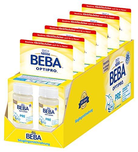 Nestlé BEBA OPTIPRO Pre Anfangsmilch von Geburt an, trinkfertig, Portionsflaschen 6 x (2 x 90ml)